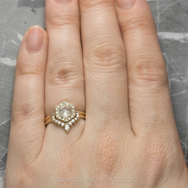 .87 Carat Hexagon Diamond Engagement Ring, Halo Setting, 14K Yellow Gold