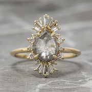 1.86 Carat Salt & Pepper Geometric Pear Diamond Engagement Ring, Calico Setting, 14K Yellow Gold
