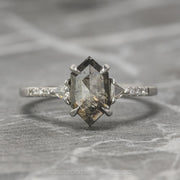 1.39 Carat Hexagon Diamond Engagement Ring, Eliza Setting, 14k White Gold