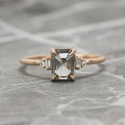 Salt & Pepper Emerald Cut Diamond Engagement Ring