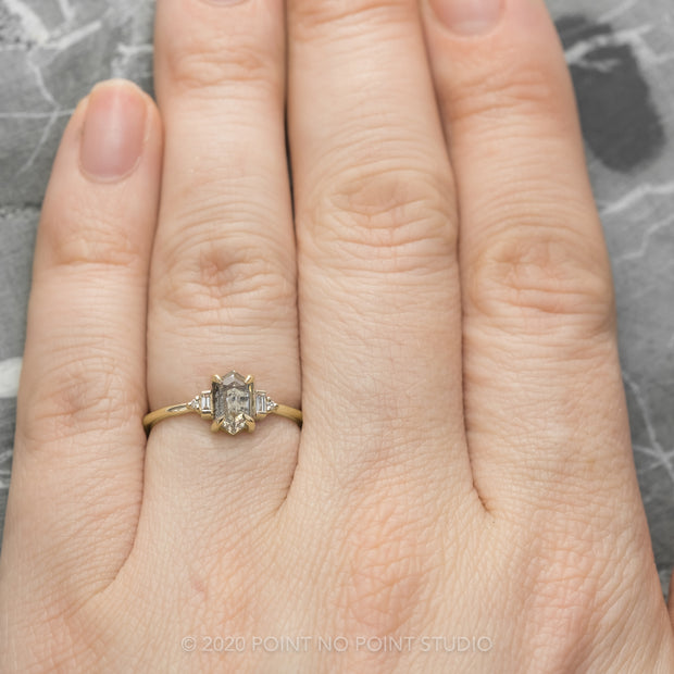 .91 Carat Salt & Pepper Hexagon Diamond Engagement Ring, Betty Setting, 14K Yellow Gold