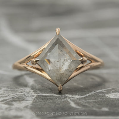 2.09 Carat Grey Lozenge Diamond Engagement Ring, Split Shank Jane Setting, 14K Rose Gold