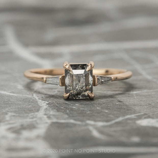1.06 Carat Salt & Pepper Emerald Shaped Diamond Engagement Ring, Zoe Setting, 14K Rose Gold