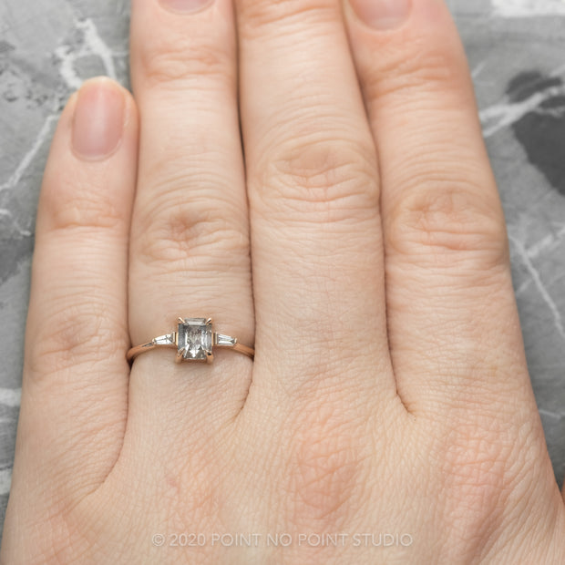 Salt & Pepper Emerald Shaped Diamond Engagement Ring