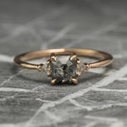 1.15 Carat Black Speckled Emerald Shaped Diamond Engagement Ring, Zoe Setting, 14K Rose Gold