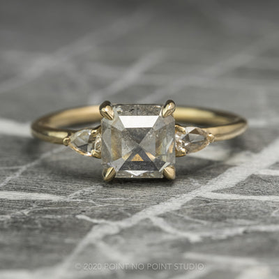1.77 Carat Translucent Asscher Shaped Diamond Engagement Ring, Zoe Setting, 14K Yellow Gold