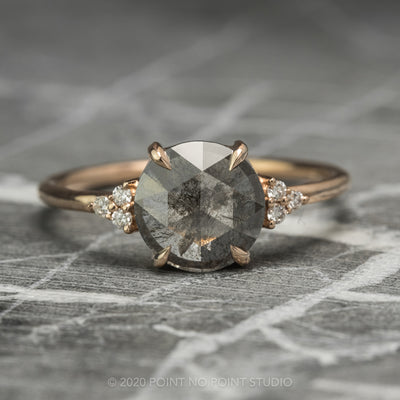 Salt & Pepper Round Diamond Engagement Ring