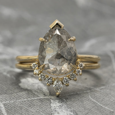 2.48 Carat Salt & Pepper Pear Diamond Engagement Ring, Charlize Setting, 14k Yellow Gold