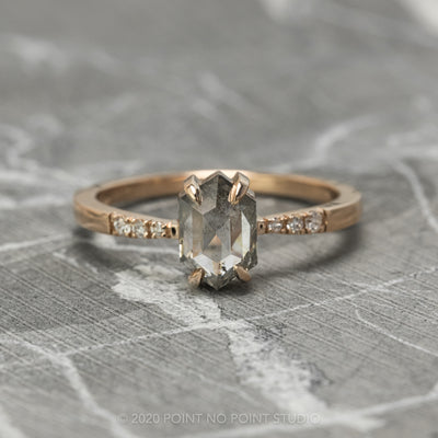 1.16 Carat Grey Speckled Hexagon Diamond Engagement Ring, Tapered Jules Setting, 14K Rose Gold