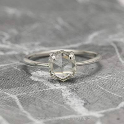 .95 Carat Clear Hexagon Diamond Engagement Ring, Jane Setting, 14K White Gold