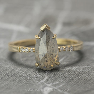 Opalescent Grey Pear Diamond Engagement Ring