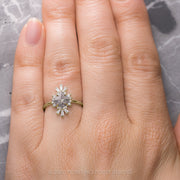 Salt & Pepper Lozenge Diamond Engagement Ring