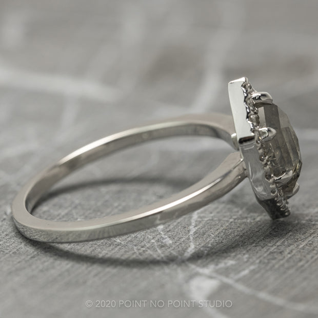 Salt & Pepper Hexagon Diamond Engagement Ring