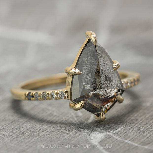 Black Speckled Kite Diamond Engagement Ring