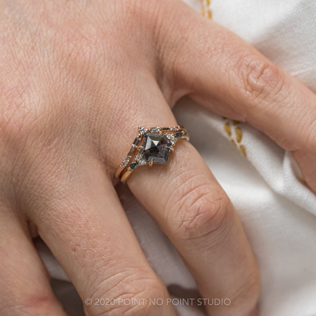 1.89 Carat Black Speckled Hexagon Engagement Ring, Petite Quinn Setting, 14k Yellow Gold