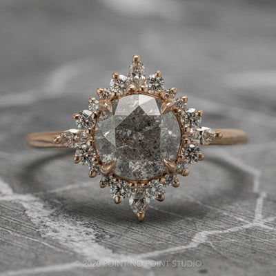 1.75ct Salt & Pepper Diamond Engagement Ring, Cosette Setting, 14K Rose Gold