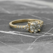 1.39 Carat Salt & Pepper Diamond Engagement Ring, Quincy Setting, 14K Yellow Gold