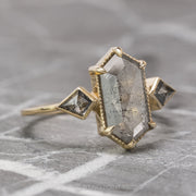 2.18 Carat Grey Speckled Hexagon Diamond Engagement Ring, Zelda Setting, 14K Yellow Gold