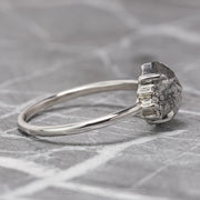 1.70ct Salt & Pepper Hexagon Diamond Engagement Ring, Charlotte Setting, 14k White Gold