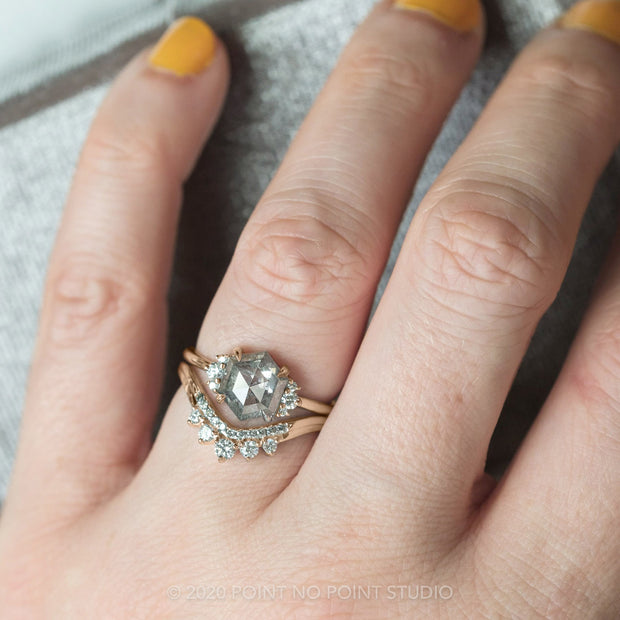 1.70ct Salt & Pepper Hexagon Diamond Engagement Ring, Charlotte Setting, 14k Rose Gold
