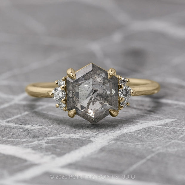 1.70ct Salt & Pepper Hexagon Diamond Engagement Ring, Charlotte Setting, 14k Yellow Gold