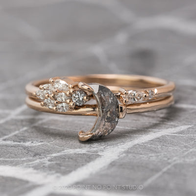 Salt & Pepper Crescent Moon Diamond Engagement Ring
