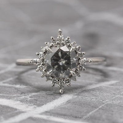 1.78 Carat Salt & Pepper Diamond Engagement Ring, Cosette Setting, 14K White Gold