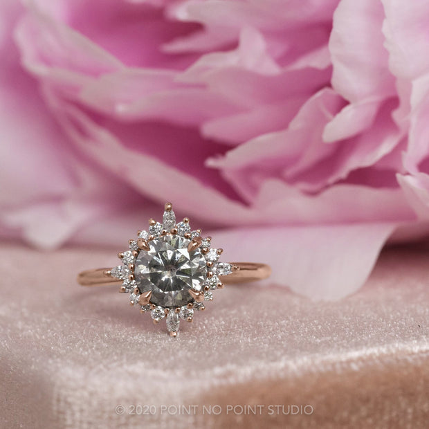 1.78 Carat Salt & Pepper Diamond Engagement Ring, Cosette Setting, 14K Rose Gold