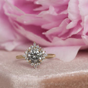 1.78 Carat Salt & Pepper Diamond Engagement Ring, Cosette Setting, 14K Yellow Gold
