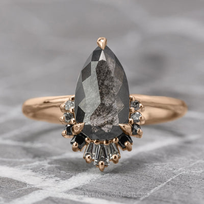 1.31 Carat Black Speckled Pear Diamond Engagement Ring, Ombre Wren Setting, 14K Rose Gold