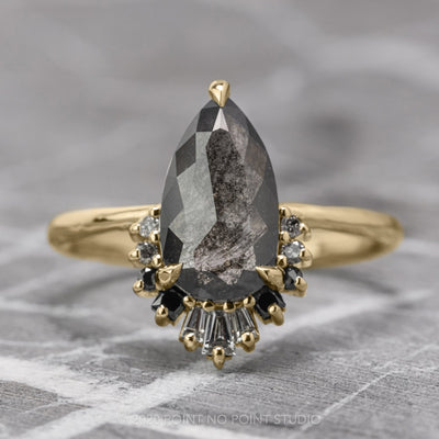 1.31 Carat Black Speckled Pear Diamond Engagement Ring, Ombre Wren Setting, 14K Yellow Gold