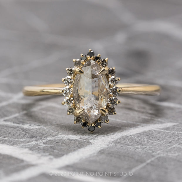 Salt & Pepper Marquise Diamond Engagement Ring