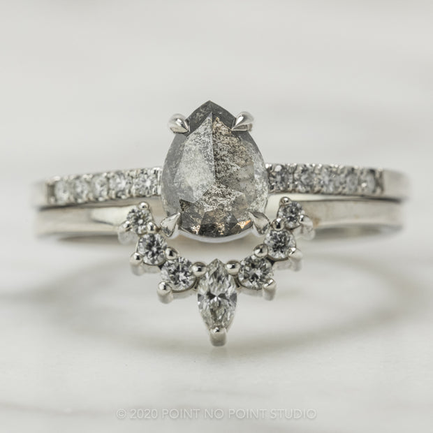 1.12 Carat Salt & Pepper Pear Diamond Engagement Ring, Jules Setting, 14K White Gold