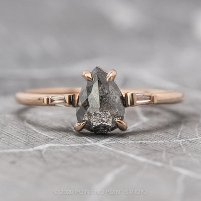 .98 Carat Black Speckled Pear Diamond Engagement Ring, Zoe Setting, 14K Rose Gold