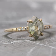 1.30 Carat Translucent Hexagon Diamond Engagement Ring, Jules Setting, 14k Yellow Gold
