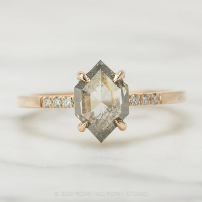 1.25 Carat Translucent Salt & Pepper Hexagon Diamond Engagement Ring, Jules Setting, 14k Rose Gold