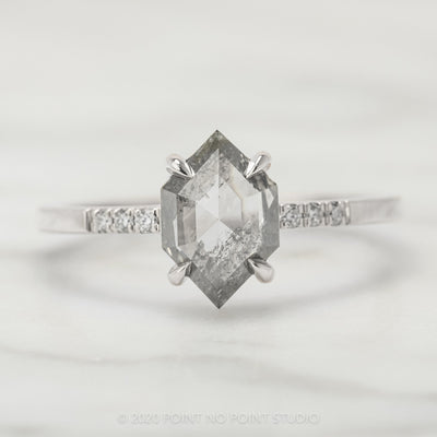 1.30 Carat Translucent Hexagon Diamond Engagement Ring, Jules Setting, 14k White Gold