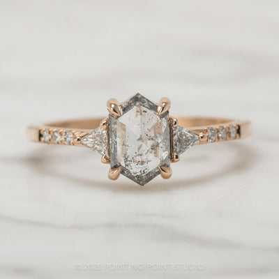 .96 Carat Translucent Salt & Pepper Hexagon Diamond Engagement Ring, Eliza Setting, 14K Rose Gold