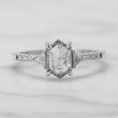 .96 Carat Translucent Salt & Pepper Hexagon Diamond Engagement Ring, Eliza Setting, 14K White Gold