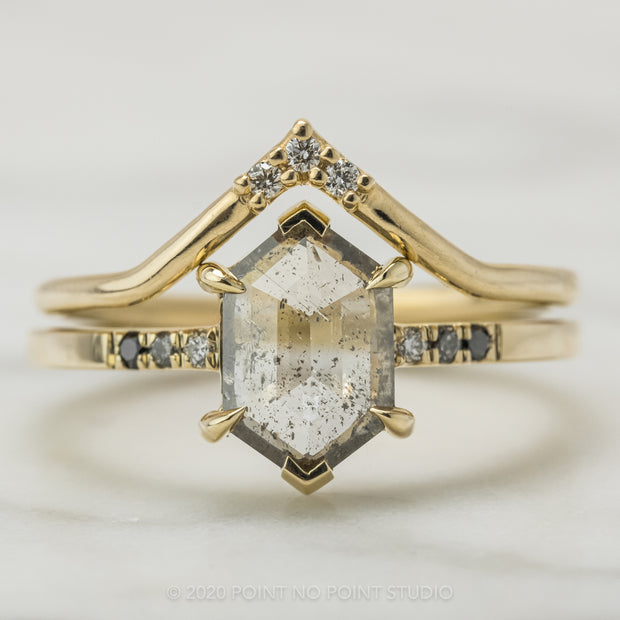 1.28 Carat Salt & Pepper Diamond Engagement Ring, Ombre Sirena Setting, 14k Yellow Gold
