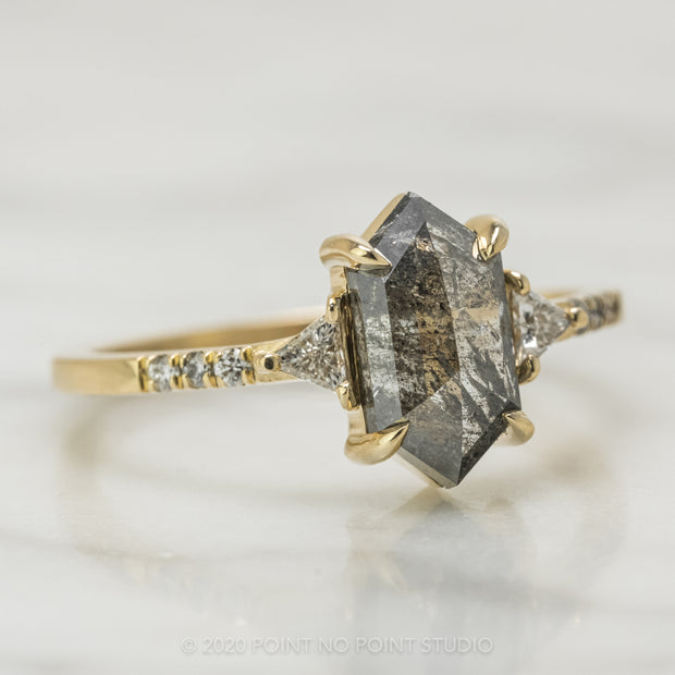 1.59 Carat Black Speckled Hexagon Diamond Engagement Ring, Eliza Setting, 14K Yellow Gold