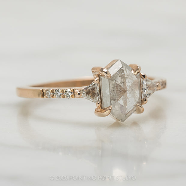 1.08 Carat Icy White Hexagon Diamond Engagement Ring, Eliza Setting, 14K Rose Gold
