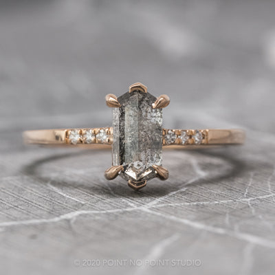 1.24 Carat Salt & Pepper Hexagon Diamond Engagement Ring, Sirena Setting, 14K Rose Gold