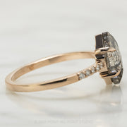 2.09 Carat Translucent Salt & Pepper Hexagon Diamond Engagement Ring, Jules Setting, 14k Rose Gold