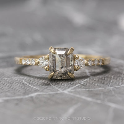 1.24 Carat Salt & Pepper Emerald Shaped Diamond Engagement Ring, Eliza Setting, 14K Yellow Gold