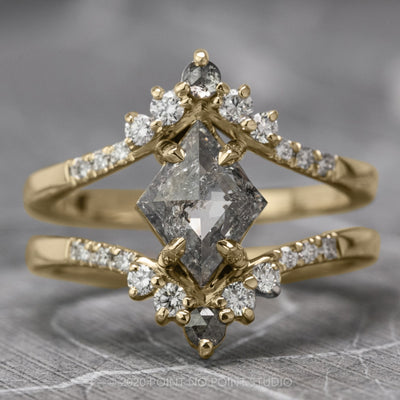 2.52ct Salt & Pepper Lozenge Diamond Engagement Ring, Empress Setting, 14K Yellow Gold