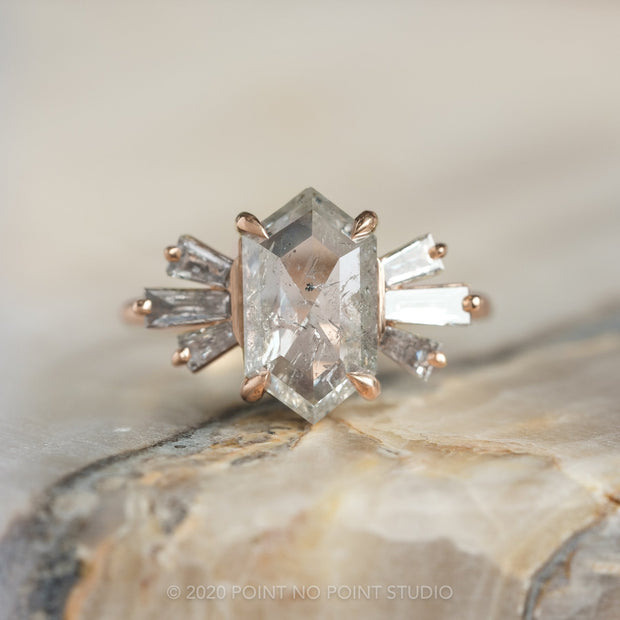 1.73 Carat Hexagon Diamond Engagement Ring, Alina Setting, 14k Rose Gold