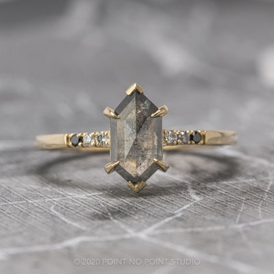 1.14 Carat Black Speckled Hexagon Diamond Engagement Ring, Ombre Sirena Setting, 14K Yellow Gold