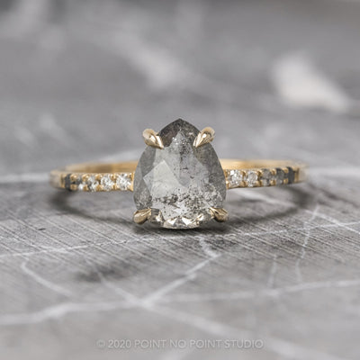1.42 Carat Salt & Pepper Pear Diamond Engagement Ring, Ombre Jules Setting, 14K Yellow Gold