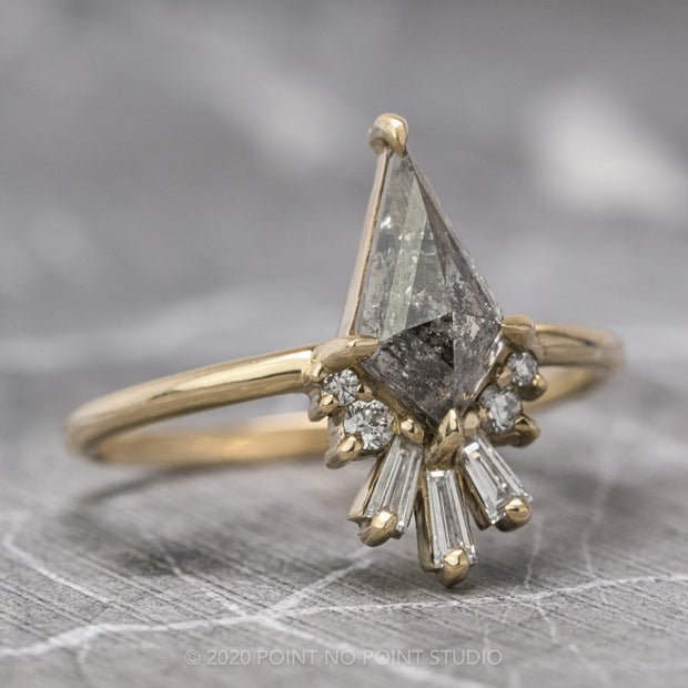 1.27 Carat Black Speckled Kite Diamond Engagement Ring, Wren Setting, 14K Yellow Gold